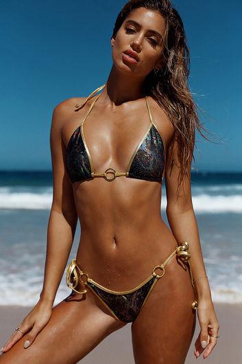 Laguna Black Snake & Gold Center Loop Bikini Top