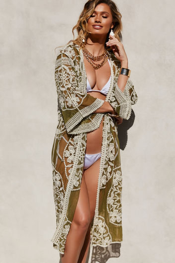 Garden State Olive Floral Crochet Lace Beach Cover Up