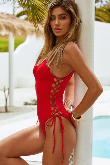 Kandy Red Side Lace Up One Piece Swimsuit