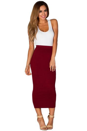 Burgundy Red Cozy Knit High Waisted Midi Pencil Skirt