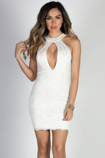 """""""Baby Doll"""" Ivory Plunging Cut Out High Neck Halter Lace Mini Dress"""