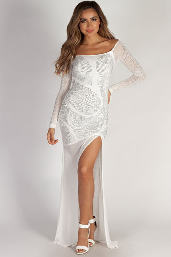 """A Night To Remember"" White Rhinestone Long Sleeve Maxi Gown"