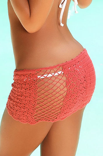 Tequila Sunset Coral  Mini Crochet Beach Skirt Cover Up