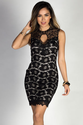 """""""Riva"""" Black Sleeveless Classy Lace Cocktail Dress with Open Back"""