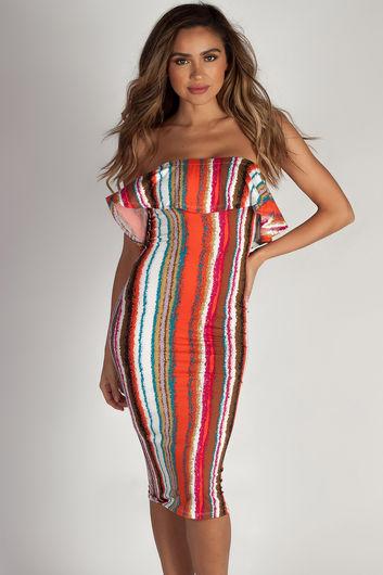 """Perfect Day"" Multi Color Striped Ruffle Tube Dress"