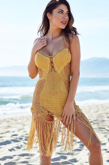 Gold Fringe Crochet Dress
