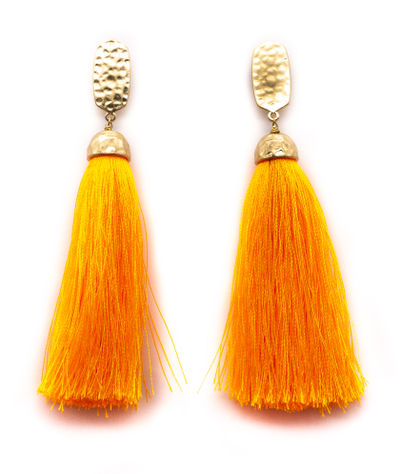 Málaga Orange Tassel Earrings