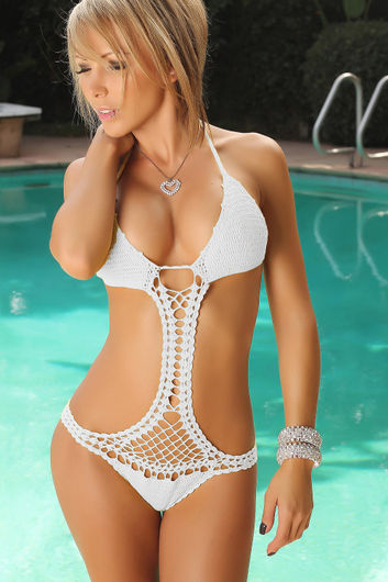 Jacaranda White Sexy Crochet Monokini Scrunch Bottom One Piece Swimsuit