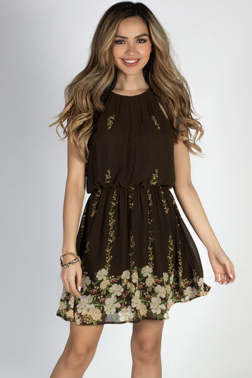 """Head in the Clouds"" Olive Floral Short Chiffon Dress"