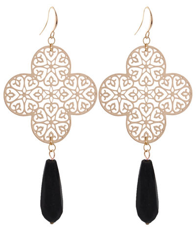 Lamai Black Tassel Gold Clover Earrings