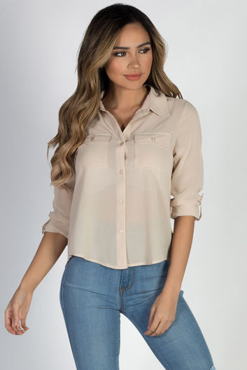 """Celena"" Taupe Long Sleeve Chiffon Blouse with Front Pockets"
