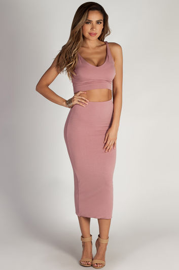 """Mamacita"" Blush Cropped Tank Top And Midi Skirt Set"