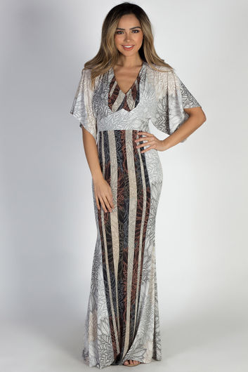 """Authentic"" Taupe Leaf Print Maxi Dress"