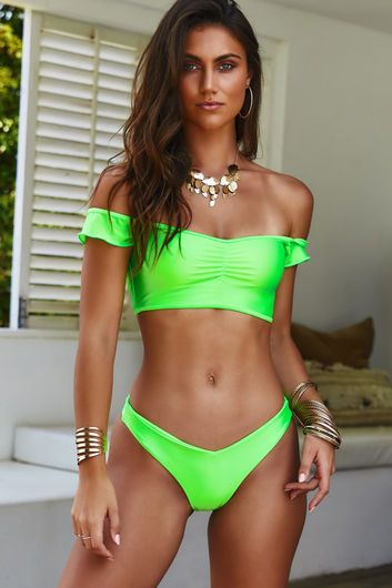 Neon Green Off Shoulder Bikini Top