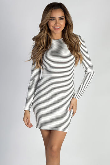 """Let Me Breathe"" White Striped Black Long Sleeve Dress"