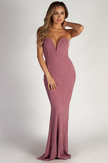 """Wish Come True"" Mauve Glitter Strapless Plunging Sweetheart Maxi Gown"