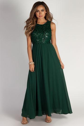 """Sweet Bliss"" Hunter Green Sleeveless Crochet Lace Maxi Dress"
