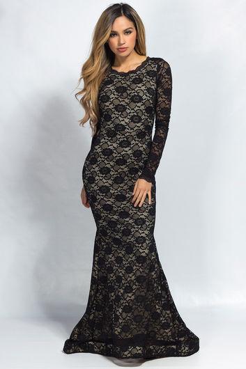 """Teresa"" Black Lace Long Sleeve Open Back Mermaid Maxi Gown"