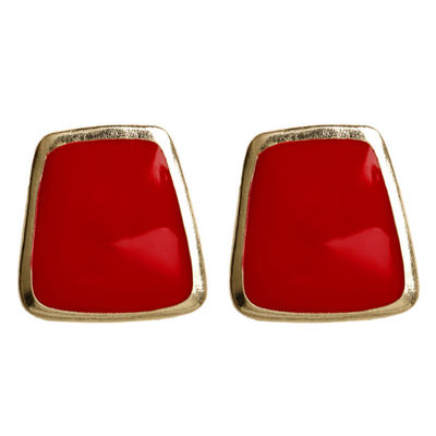Red Trapezoid Earrings