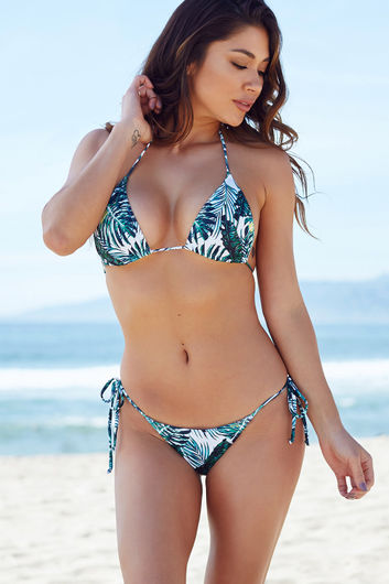 Tropical Palm Print Triangle Bikini Top