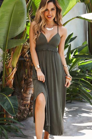 Farrah Olive Maxi Cover Up Dress