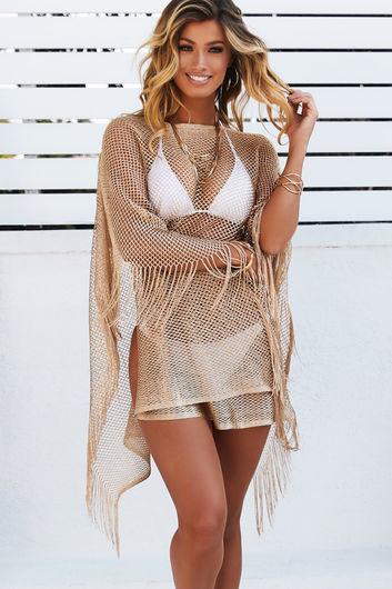 Illustrious Metallic Gold Knit Crochet Fringed Crop Poncho
