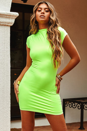 """""""Late to the Party"""" Neon Yellow Short-Sleeve Mini Dress"""