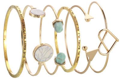 Six Piece Ornate Polished Gold Bracelet Set