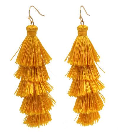 Golden Yellow Fringe Tassel Earrings