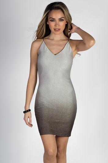 """Miss Steele"" Silver Metallic Pinstripe Ombre Mini Dress"