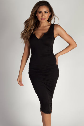 """Back To You"" Black Split Neck Tank Dress"