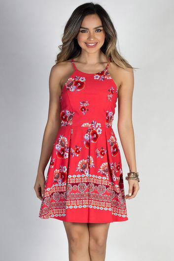 """""""Gypsy Rose"""" Red Boho Floral Print High Neck Halter Skater Dress"""