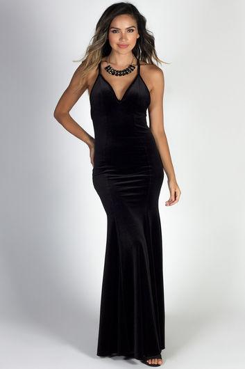 """""""Elegant Opulence"""" Black Spaghetti Strap Velvet Mermaid Gown"""