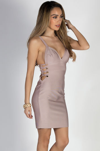 """One Night Only"" Lavender Side Cut Out Bandage Dress"