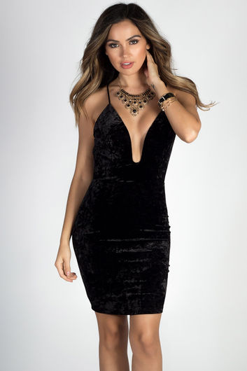 """Lucky You"" Black Velvet Strappy Deep V Mini Dress"