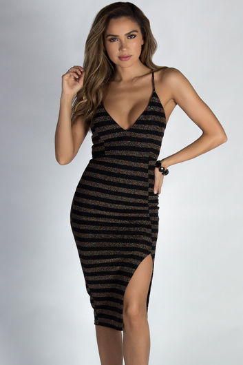 """Know What I Want"" Black Bronze Striped Spaghetti Strap Open Leg Midi Dress"