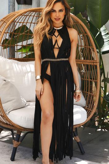 Milan Black Maxi Dress Cover Up