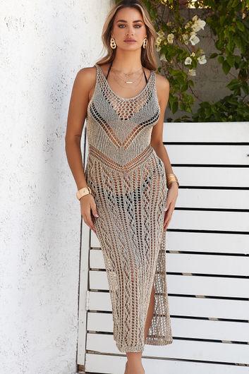 Genoa Gold Metallic Midi Dress Cover Up
