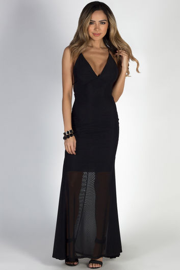 """""""Moon River"""" Black Strappy Backless Mermaid Maxi Gown"""