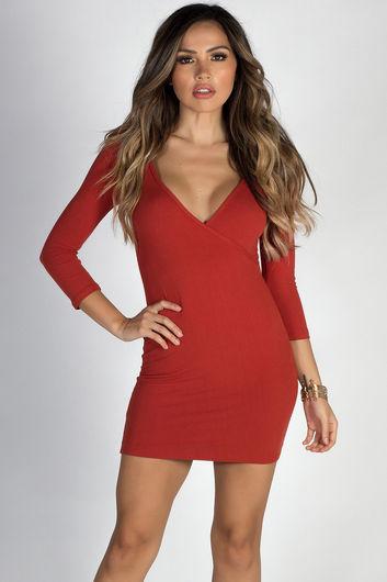 """Lover's Heart"" Orange Spice 3/4 Sleeve V Neck Mini Dress"