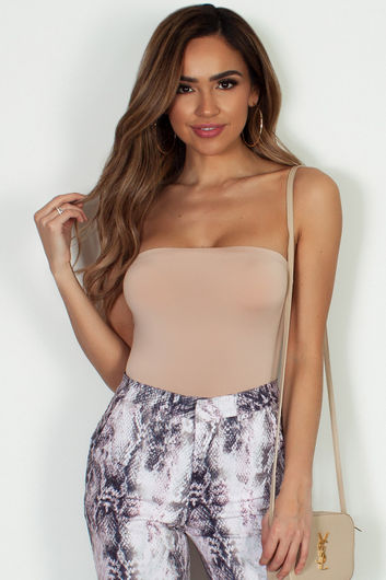"""Yoga"" Taupe Tube Top Bodysuit"