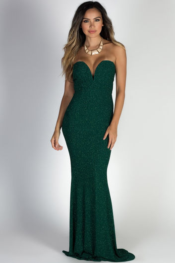 """""""Wish Come True"""" Hunter Green Glitter Strapless Plunging Sweetheart Maxi Gown"""