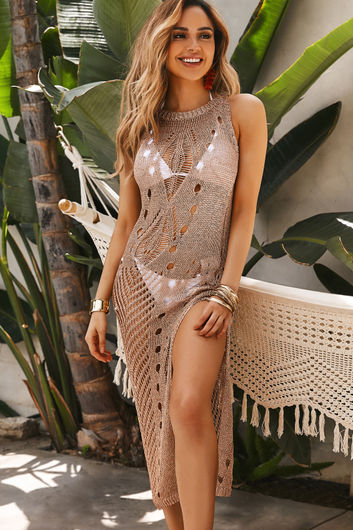 Mara Rose Gold Metallic Crochet Sleeveless Maxi Cover Up