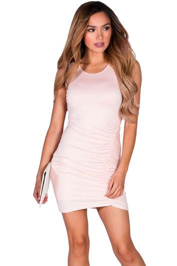 """Lindsay"" Blush Pink Ruched Bodycon Jersey Tank Dress"