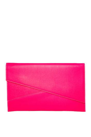 Neon Pink Asymmetrical Envelope Clutch