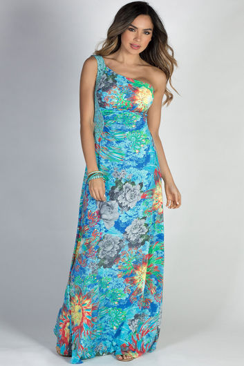 """Island Nights"" Blue Floral Print One Shoulder Jeweled Lace Tropical Maxi Dress"