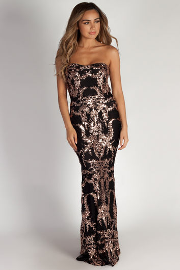 """""""Mad Love"""" Black & Rose Gold Sequin Evening Gown"""