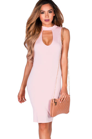 """Asha"" Blush Knee Length Cut Out Open Back High Neck Bodycon Dress"