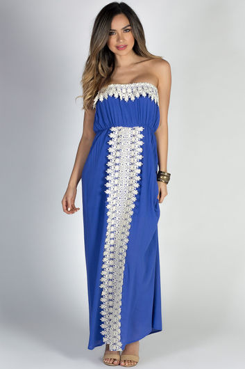 """""""Daydreamer"""" Blue Strapless Maxi Dress with Crochet Lace Trim"""