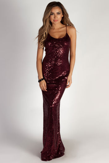 """""""Don't Hold Your Breath"""" Burgundy Sequin Evening Gown"""